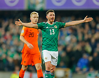 16th November 2019; Windsor Park, Belfast, Antrim County, Northern Ireland; European Championships 2020 Qualifier, Northern Ireland versus Netherlands; Corry Evans of Northern Ireland reacts to an incident in front of the Netherlands goal - Editorial Use