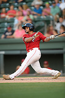 Catcher Alan Marrero (16) of the Greenville Drive bats in a game against the Rome Braves on Friday, June 28, 2019, at Fluor Field at the West End in Greenville, South Carolina. Rome won, 4-3. (Tom Priddy/Four Seam Images)