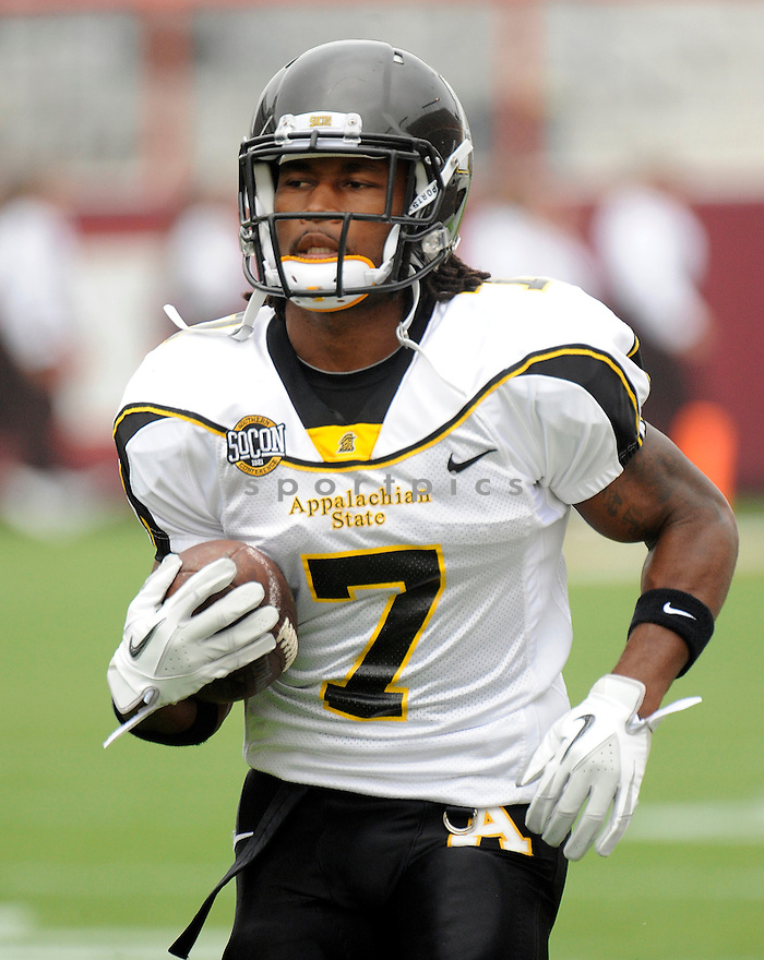 TRAVARIS CADET, of the Appalachian State Mountaineers, in action during the Mountaineers game against Virginia Tech on September 3, 2011, at Lane Stadium in Blacksburg, VA.  Virginia Tech beat Appalachian State 66-13.