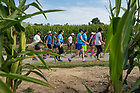August 15, 2017;  Pilgrims make the 39 mile trek, 18 walking and 21 biking on day 2 of the ND Trail from Oaktown to Pimento, Indiana. As part of the University's 175th anniversary celebration, the Notre Dame Trail will commemorate Father Sorin and the Holy Cross Brothers' journey. A small group of pilgrims will make the entire 300+ mile journey from Vincennes to Notre Dame over  two weeks. (Photo by Barbara Johnston/University of Notre Dame)