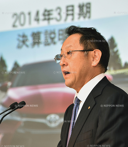 May 8, 2014, Tokyo, Japan - President Akio Toyoda of Toyota Motor Corp., briefs the media on the world's largest carmaker's profit forecast during a news conference at its head office in Tokyo on Thursday, May 8, 2014. Toyota forecast its profit will fall from last year's record as demand in Japan slumps. The automaker reported a January-March profit of 297 billion yen , down from 313.9 billion yen a year earlier, primarily due to a weaker yen and extra costs, including research and development expenses.  (Photo by Natsuki Sakai/AFLO)