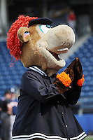 Staten Island Yankees mascot Red during game against the Connecticut Tigers at Richmond County Bank Ballpark at St.George on July 7, 2013 in Staten Island, NY.  Staten Island defeated Connecticut 6-2.  (Tomasso DeRosa/Four Seam Images)