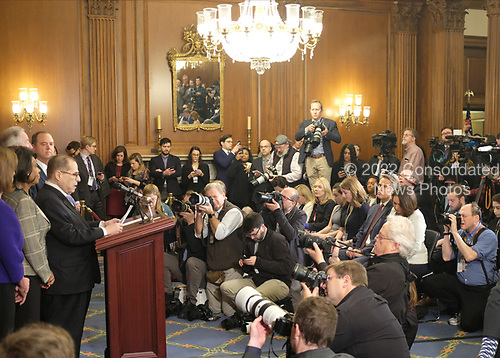 United States Representative Jerrold Nadler (Democrat of New York), speaks at a news conference laying out articles of impeachment for President Donald J. Trump, on Capitol Hill in Washington, DC on Tuesday, December 10, 2019. Credit: Alex Wroblewski / CNP