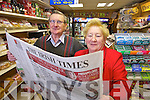 Imelda and Tim Moriarty of Moriarty's shop Princess Street, Tralee who's daughter Elaine survived the Earthquake in New Zeland.