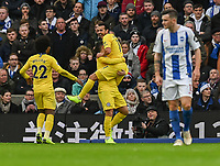 Chelsea's Pedro (right) celebrates scoring the opening goal  with his team<br /> <br /> Photographer David Horton/CameraSport<br /> <br /> The Premier League - Brighton and Hove Albion v Chelsea - Sunday 16th December 2018 - The Amex Stadium - Brighton<br /> <br /> World Copyright &copy; 2018 CameraSport. All rights reserved. 43 Linden Ave. Countesthorpe. Leicester. England. LE8 5PG - Tel: +44 (0) 116 277 4147 - admin@camerasport.com - www.camerasport.com