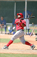 Orlando Mercado #14 of the Los Angeles Angels plays in a minor league spring training game against the Chicago Cubs at the Angels minor league complex on April 4, 2011  in Tempe, Arizona. .Photo by:  Bill Mitchell/Four Seam Images.