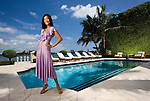 National Geographic Explorer host Lisa Ling photographed poolside at a Miami Beach mansion for Ocean Drive on September 2, 2005.