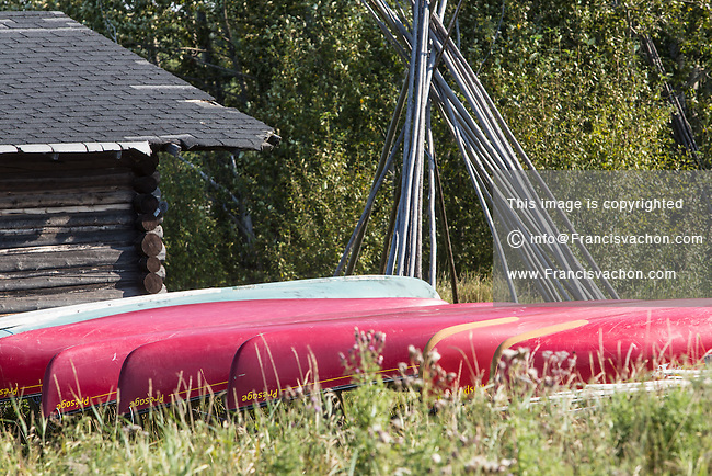 Canoes are pictured in the Indian reserve of Pikogan, home of the Abitibiwinni First Nation, near Amos, Canada Wednesday August 24, 2016.