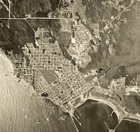 historical aerial photograph Crescent City, California, 1955