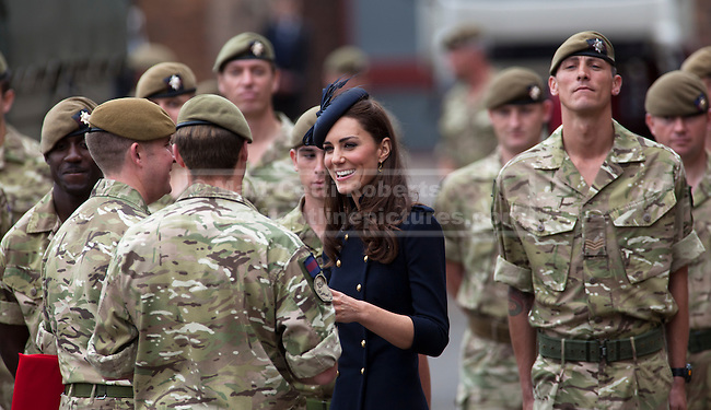 WINDSOR, UK  25/06/11. The First Battalion, The Irish Guards, recently returned from operation Herric in Afghanistan, were parading at their current base, Victoria Barracks, in Windsor to receive the Afghanistan Campaign Medal from the Duke and Duchess of Cambridge. Photo credit should read Matt Cetti-Roberts