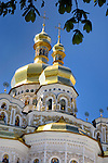 Travel stock photo of the Mother of God Assumption church on the territory of Kiev pechersk lavra - Cave monastery in Kiev Ukraine Eastern Europe Architecture in Ukrainian baroque architectural style Vertical orientation May 2007