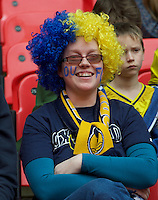 Oxford United fans before the Johnstone's Paint Trophy FINAL match between Oxford United and Barnsley at Wembley Stadium, London, England on 3 April 2016. Photo by Alan  Stanford / PRiME Media Images.