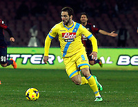 Gonzalo Higuain  in action during the Italian Serie A soccer match between SSC Napoli and Genoa CFC   at San Paolo stadium in Naples, February 24 , 2014