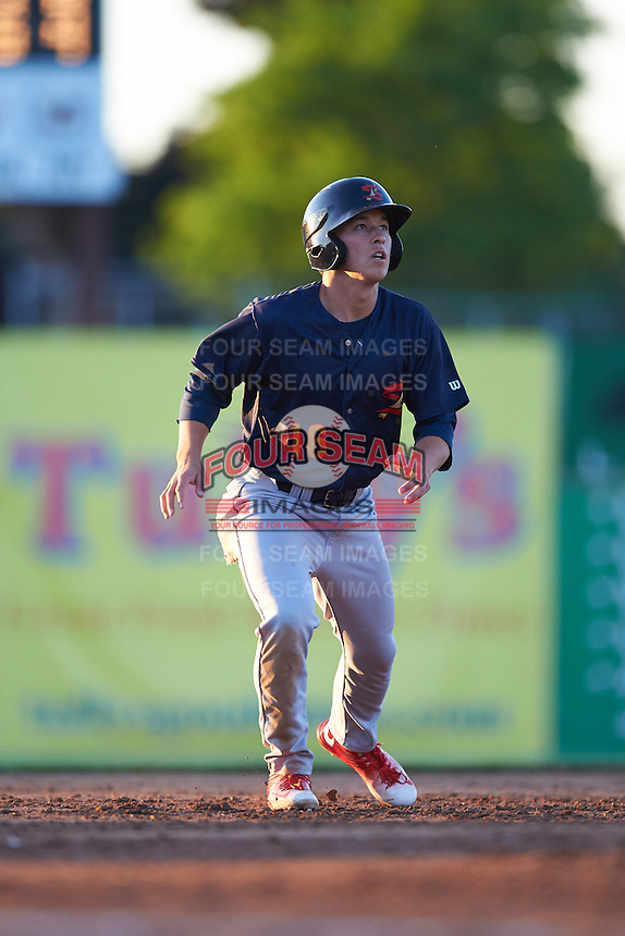 State College Spikes designated hitter Tommy Edman (16) leads off second during a game against the Batavia Muckdogs on June 23, 2016 at Dwyer Stadium in Batavia, New York.  State College defeated Batavia 8-4.  (Mike Janes/Four Seam Images)