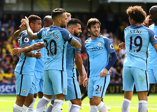 May 21st 2017, Vicarage Road, Watford, Herts, England; EPL Premier league football, Watford versus Manchester City; Sergio Aguero of Manchester City makes it 0-3 in the 36th minute, and celebrates with team mates