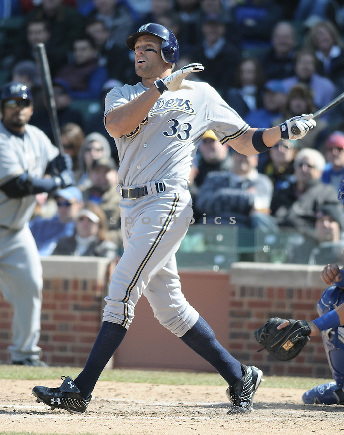 GABE KAPLER, of the Milwaukee Brewers, in action during the Brewers game against the Chicago Cubs  in Chicago, IL  on April 2, 2008...Cubs win 2-0...CHRIS BERNACHHI / SPORTPICS..