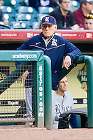 Rice Owls head coach Wayne Graham #37 watches the action from the top step of the dugout during the game against the Baylor Bears at Minute Maid Park on March 6, 2011 in Houston, Texas.  Photo by Brian Westerholt / Four Seam Images