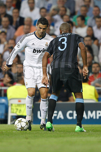 18.09.2012. Madrid. Spain.  Champions League   match played between Real Madrid CF vs  Manchester City at Santiago Bernabeu stadium. The picture show Cristiano Ronaldo (Portuguese forward of Real Madrid) Real Madrid rallied to win the game 3-2.