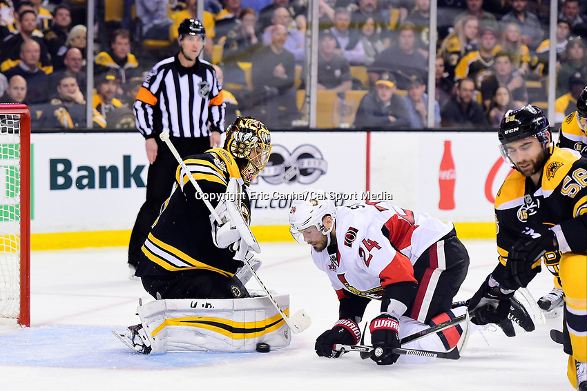 Monday, April 17, 2017: Boston Bruins goalie Tuukka Rask (40) makes a pad save in front of Ottawa Senators left wing Viktor Stalberg (24) during game 3 of round one of the National Hockey League Eastern Conference Stanley Cup Playoffs between the Ottawa Senators and the Boston Bruins, held at TD Garden, in Boston, Mass. Ottawa defeats Boston 4-3 in overtime and leads the series 2-1. Eric Canha/CSM