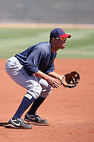 Aaron Fields of the Cleveland Indians plays in an extended spring training game against the Seattle Mariners at the Indians minor league complex on May 14, 2011  in Goodyear, Arizona. .Photo by:  Bill Mitchell/Four Seam Images.