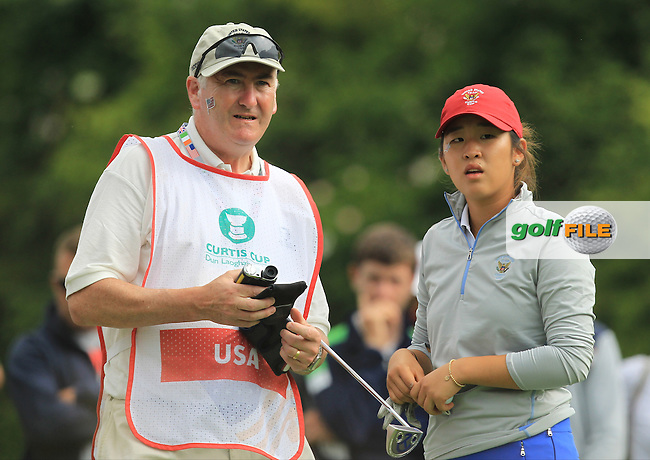 Andrea Lee on the 8th tee during the Saturday Mourning Fourbsomes of the 2016 Curtis Cup at Dun Laoghaire Golf Club on Saturday 11th June 2016.<br /> Picture:  Golffile | Thos Caffrey