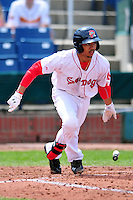 Portland Sea Dogs second baseman Mookie Betts #7 during a game versus the Trenton Thunder at Hadlock Field in Portland, Maine on May 17, 2014. (Ken Babbitt/Four Seam Images)