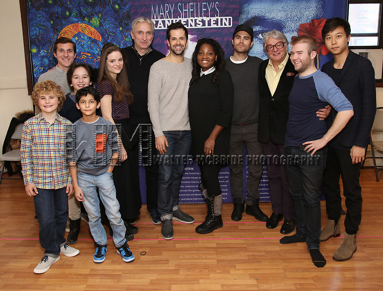 Avey Noble, KempJernigan, Peyton Lusk, Shiv Ajay Pancholi-Parekh,Mia Vallet, Rocco Sisto, Robert Fairchild, Krysty Swann, Paul Wesley, Donald T. Sanders, Parker Ramsay and Stephen Lin attends the Meet & Greet the cast of 'Mary Shelley's Frankenstein' at the Shelter Studios on December 14, 2017 in New York City.