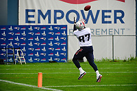 June 6, 2017: New England Patriots tight end Rob Gronkowski (87) makes a catch at the New England Patriots mini camp held on the practice field at Gillette Stadium, in Foxborough, Massachusetts. Eric Canha/CSM