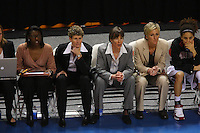 10 March 2008: Stanford Cardinal assistant coach Bobbie Kelsey, associate head coach Amy Tucker, head coach Tara VanDerveer, assistant coach Kate Paye, and Cissy Pierce during Stanford's 56-35 win against the California Golden Bears in the 2008 State Farm Pac-10 Women's Basketball championship game at HP Pavilion in San Jose, CA.