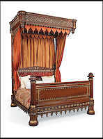 BNPS.co.uk (01202 558833)<br /> Pic: Christie's/BNPS<br /> <br /> ***Please use full byline***<br /> <br /> A George IV parcel gilt oak half-tester bed.<br /> <br /> An interior designer to the stars is selling virtually the entire contents of her multi-million pounds London apartment that she is moving out of.<br /> <br /> Tessa Kennedy's client list for home makeovers has included Elizabeth Taylor, George Harrison and Pierce Brosnan as well as famous hotels like the Ritz and Claridges.<br /> <br /> During her jet-set career, she acquired opulent pieces of furniture, art work and ornaments from around the world that she filled her town and country residence with.<br /> <br /> Now aged 75, Miss Kennedy no longer requires her three-bed Knightsbridge flat and is auctioning off most of its contents in a unique sale at Christie's.