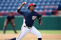 October 5, 2009:  Pitcher Marcos Frias of the Washington Nationals organization delivers a pitch during an Instructional League game at Space Coast Stadium in Viera, FL.  Photo by:  Mike Janes/Four Seam Images