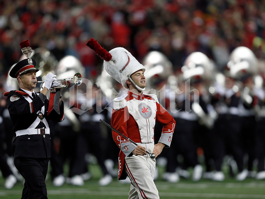 Ohio State marching band drum major David Petitt leads Script Ohio before the NCAA football game at Ohio Stadium on Saturday, November 1, 2014. (Columbus Dispatch photo by Jonathan Quilter)