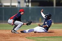 Cleveland Indians Tyler Krieger (17) tags Omar Cotto (39) sliding into second during an instructional league game against the Milwaukee Brewers on October 8, 2015 at the Maryvale Baseball Complex in Maryvale, Arizona.  (Mike Janes/Four Seam Images)