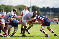 Kane Palma-Newport of Bath Rugby takes on the Bristol Rugby defence. Pre-season friendly match, between Bristol Rugby and Bath Rugby on August 12, 2017 at the Cribbs Causeway Ground in Bristol, England. Photo by: Patrick Khachfe / Onside Images