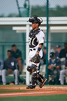 GCL Pirates catcher Samuel Inoa (54) during the first game of a doubleheader against the GCL Yankees East on July 31, 2018 at Pirate City Complex in Bradenton, Florida.  GCL Yankees East defeated GCL Pirates 2-0.  (Mike Janes/Four Seam Images)