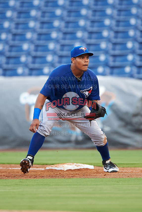 GCL Blue Jays first baseman Yorman Rodriguez (77) during a game against the GCL Phillies on August 16, 2016 at Bright House Field in Clearwater, Florida.  GCL Blue Jays defeated GCL Phillies 2-1.  (Mike Janes/Four Seam Images)