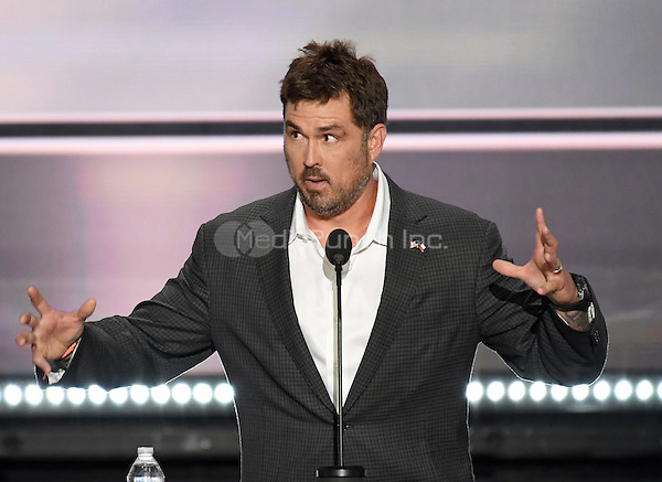 Former Navy Seal Marcus Luttrell makes remarks at the 2016 Republican National Convention held at the Quicken Loans Arena in Cleveland, Ohio on Monday, July 18, 2016.<br /> Credit: Ron Sachs / CNP/MediaPunch<br /> (RESTRICTION: NO New York or New Jersey Newspapers or newspapers within a 75 mile radius of New York City)