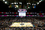 DALLAS, TX - APRIL 2: The South Carolina Gamecocks and Mississippi State Lady Bulldogs tip off during the 2017 Women's Final Four at American Airlines Center on April 2, 2017 in Dallas, Texas. A tilt shift lens was used to create the visual effect. (Photo by Timothy Nwachukwu/NCAA Photos via Getty Images)