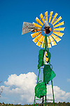 Aermotor windmill painted as a sunflower at the Chamber of Commerce office in Newcastle, Wyoming with a  painted meadowlark