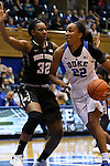 07 January 2016: Duke's Oderah Chidom (22) and Wake Forest's Milan Quinn (32). The Duke University Blue Devils hosted the Wake Forest University Demon Deacons at Cameron Indoor Stadium in Durham, North Carolina in a 2015-16 NCAA Division I Women's Basketball game. Duke won the game 95-68.