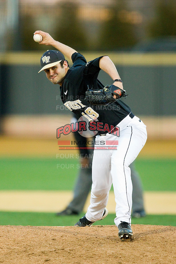 Wake Forest Demon Deacons relief pitcher Aaron Fossas (18) in action against the North Carolina Tar Heels at Wake Forest Baseball Park on March 9, 2013 in Winston-Salem, North Carolina.  The Tar Heels defeated the Demon Deacons 20-6.  (Brian Westerholt/Four Seam Images)