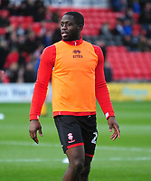 Lincoln City's John Akinde during the pre-match warm-up<br /> <br /> Photographer Andrew Vaughan/CameraSport<br /> <br /> Emirates FA Cup First Round - Lincoln City v Northampton Town - Saturday 10th November 2018 - Sincil Bank - Lincoln<br />  <br /> World Copyright &copy; 2018 CameraSport. All rights reserved. 43 Linden Ave. Countesthorpe. Leicester. England. LE8 5PG - Tel: +44 (0) 116 277 4147 - admin@camerasport.com - www.camerasport.com