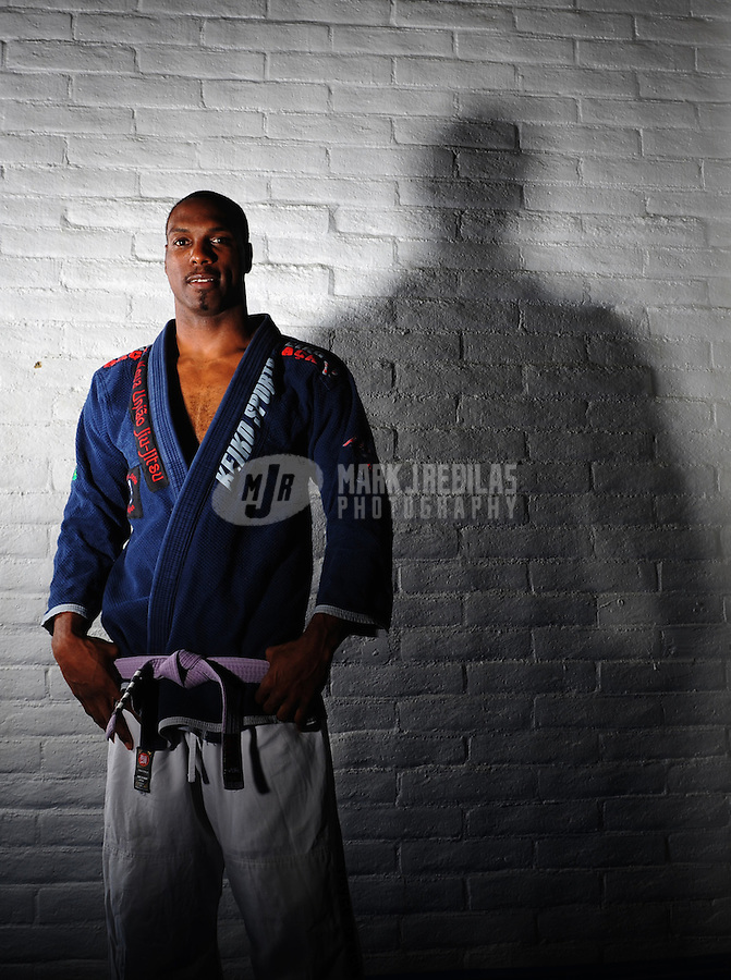 Mar 26, 2008; Tempe, AZ, USA; NFL former player Michael Westbrook during a portrait shoot at the Arizona Combat Sports. Westbrook is training in his pursuit of a black belt in Brazilian jujitsu. Mandatory Credit: Mark J. Rebilas-