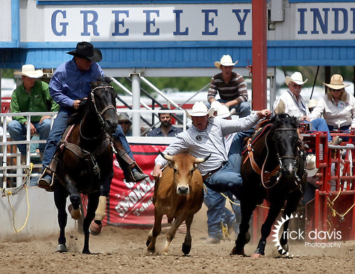 Greeley, Colorado - 7/04/2009 - Copyright Rick Davis -  PRCA cowboy Shawn Greenfield of Lakeview, Oregon turned in a fast steer wrestling time of 4.6 seconds during final go round action at the 87th annual Greeley Stampede Rodeo. Shawn's aggregate time of 14.3 seconds on three head earned him the 2009 Chapmpionship.