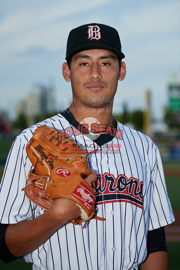 Birmingham Barons pitcher Bernardo Flores (30) poses for a photo before a game against the Tennessee Smokies on August 16, 2018 at Regions FIeld in Birmingham, Alabama.  Tennessee defeated Birmingham 11-1.  (Mike Janes/Four Seam Images)