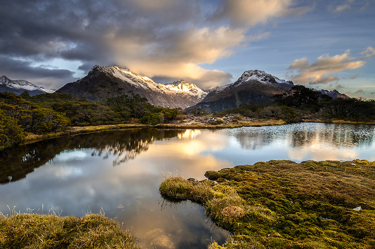 Mount Christina at sunrise, seen from Key Summit on the Routeburn Track in Fiordland National Park, South Island, New Zealand - stock photo, canvas, fine art print