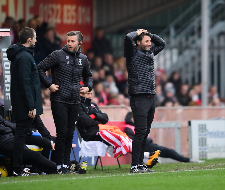 Lincoln City manager Danny Cowley reacts after a decision went against his side<br /> <br /> Photographer Chris Vaughan/CameraSport<br /> <br /> The EFL Sky Bet League Two - Lincoln City v Mansfield Town - Saturday 24th November 2018 - Sincil Bank - Lincoln<br /> <br /> World Copyright © 2018 CameraSport. All rights reserved. 43 Linden Ave. Countesthorpe. Leicester. England. LE8 5PG - Tel: +44 (0) 116 277 4147 - admin@camerasport.com - www.camerasport.com