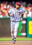 29 June 2017: Washington Nationals third baseman Anthony Rendon rounds the bases after hitting a two-run homer in the 7th inning, giving the Nationals a 3-2 lead against the Chicago Cubs at Nationals Park in Washington, DC. The Cubs rallied against the Nationals to win 5-4 and split their 4-game series. Mandatory Credit: Ed Wolfstein Photo *** RAW (NEF) Image File Available ***