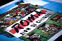 """The """"logo"""" of the march is designed by Zero Calcare (AKA Michele Rech, Italy's best-selling graphic novel artist, you can find my story and more info here: http://bit.do/eV3Fx ).<br /> <br /> Rome, 22/06/2019. Today, more than 15,000 people, including families and children, attended the demonstration called """"22 giugno Corteo per una città aperta, solidale e contro gli sgomberi: Roma non si chiude"""" (June 22, March for an open city, solidarity and against evictions: Rome cannot be shut down, 1.). The peaceful and colourful march was held from Piazza Vittorio Emanuele II to Via dei Fori Imperiali in central Rome. The demonstration was called to protest against the planned evictions of social centres and housing occupations linked to the endless Rome's 'housing crisis' and regeneration plans. The march was also called in support of Solidarity and Social Justice, against the rising of fascism, inequalities, social exclusion, racism, sexism, intolerance, """"authoritarian intimidations"""", and against the policies of the coalition Government League – Five Star Movement, especially the so-called """"Decreti Salvini / Decreti Sicurezza"""" (The first Decree is now Law of the Italian Republic, Legge 1° Dicembre 2018, n. 132, http://bit.do/eE7uo; Decree Law n. 53, 14 June 2019, http://bit.do/eV3iZ), made by the Interior Minister Matteo Salvini (League - Lega, http://bit.do/eV3EP & http://bit.do/eE7Ey), accused by protesters to be racist and restrictive of civil liberties. Last but not least, the march was held to show support and solidarity with migrants, refugees, Rom and Sinti Communities, minorities, with the NGOs trying to work and save lives in the Mediterranean, and to make heard the voices of the people who have paid the crisis with the rise of exploitation, discriminations, unemployment.<br /> <br /> Footnotes and Links:<br /> 1. http://bit.do/eV3jA"""