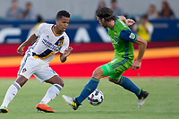 Carson, CA - Saturday July 29, 2017: Giovani dos Santos, Gustav Svensson during a Major League Soccer (MLS) game between the Los Angeles Galaxy and the Seattle Sounders FC at StubHub Center.